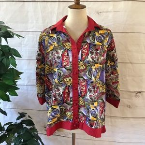 🌸4/$20 Vintage Seville Red Abstract Button Shirt